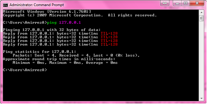 PING command TTL